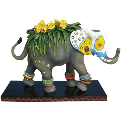 Tusk Elephants Retired Painted Flower Decorated 6