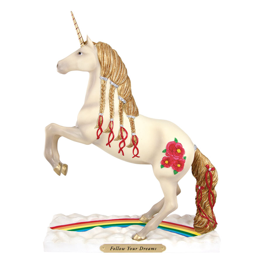 Painted Ponies Retired Follow Your Dreams Fantasy Unicorn with Rainbow 8.5