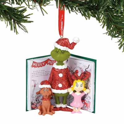 Department 56 Classic Dr. Seuss Grinch, Cindy, & Max Book 4.5