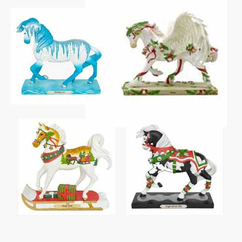 Trail of Painted Ponies Holiday 2019 Set of 4 Horse Figurines