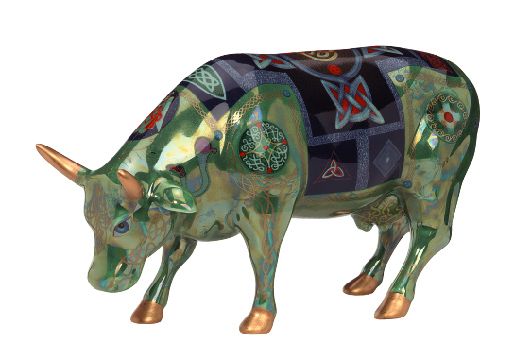 CowParade London Celtic Ceramic Cow Figurine
