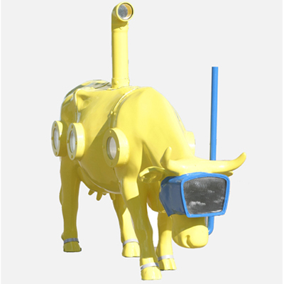 Cow Parade Stockholm Retired Yellow Submoorine Resin Figurinie