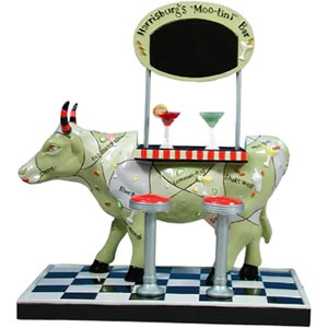 CowParade Harrisburg Moo-Tini Bar Decorative Hand-Painted Cow Figurine