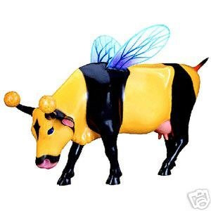 CowParade Stanford Retired Bumble Bee Resin Cow Figurine