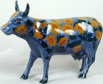 CowParade Retired Moo-Nay's Garden Sunflowers Ceramic Collectible Cow Figurine