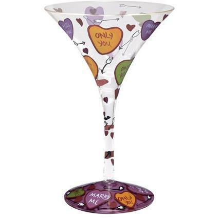 Lolita Love My Martini Retired Hand-Painted Love Collectible Cocktail Glass in Gift Box