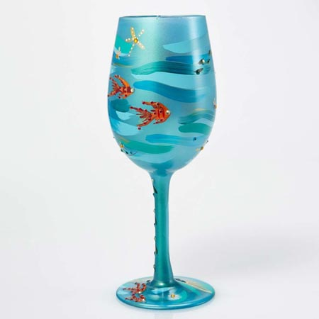 Lolita Artistic Wine Glasses Collection Mermaid 15 oz. Hand-Painted 9