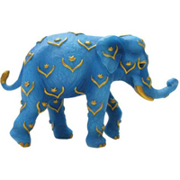 Tusk Elephants Blue and Gold Mini Hand-Painted Collectible Elephant Figurine