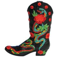 Walking Tall Snake Skin Small Resin Boot Figurine