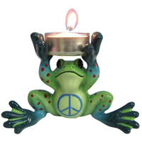 Peace Frogs Hands up Tealight Figurine