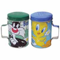 Looney Tunes Sylvester & Tweety Best Friends Tin Salt & Pepper Shaker Set