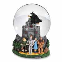 San Francisco Music Box Company Wizard of Oz Wicked Witch Flying Over Castle 120MM Music Globe