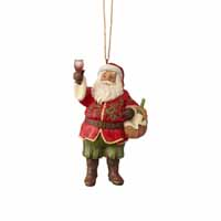 Jim Shore Heartwood Creek Christmas Holiday Santa Collection, Vinyard Santa with Wine Glass Ornament