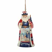Jim Shore Heartwood Creek Around the World Holiday American Santa  4.5