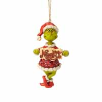 Jim Shore Heartwood Creek Holiday Grinch with Naughty and Nice Sign 4.5