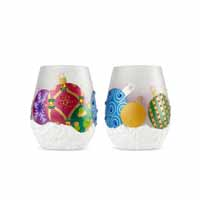 Enesco Lolita Special Gift Occasion Stemless Ornaments 2 Piece Wine Glass Set