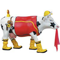 CowParade Retired Udder Cowstruction Construction Cow Figurine