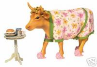 CowParade New York Retired Early Show Cow with Curlers and Slippers Resin Figurine