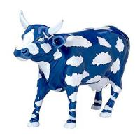 CowParade Chicago Retired Sky Cow Collectible Blue with Clouds Ceramic Figurine