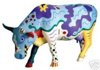 CowParade Retired Cow Doodle Medium Ceramic Figurine