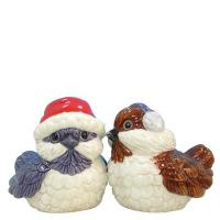 Mwah! Salt and Pepper Shakers Holiday Birds Magnetic Ceramic Figurines