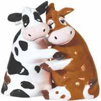 Mwah! Hugging Cows Magnetic Salt and Pepper Shakers