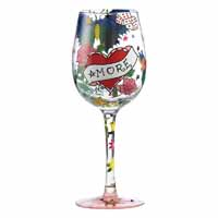 Lolita Love My Wine Retired Hand-Painted Tattoo Collectible Wine Glass in Gift Box