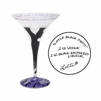 Lolita Love My Martini Retired Hand-Painted Little Black Dress Collectible Cocktail Glass in Gift Gi