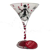 Lolita Love My Martini Retired Hand-Painted Shop Til You Drop Collectible Cocktail Glass in Gift Box