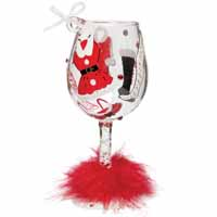 Lolita Love My Wine Retired Hand-Painted Hot Mama Claus Ornament Collectible Wine Glass in Gift Box