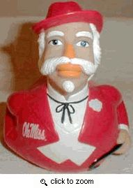Celebriducks University of Mississippi Colonel Reb Ole Miss Mascot Collectible Rubber Duck