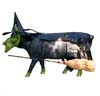 CowParade Wizard of Oz Retired Udderly Witched Wicked Witch Hand-Painted Collectible Cow Figurine