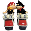 Westland Giftware Mwah! Biker Couple Magnetic Salt and Pepper Shakers