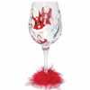 Lolita Love My Wine Retired Hand-Painted Hot Mama Claus Collectible Wine Glass in Gift Box