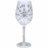 Lolita Love My Wine Retired Hand-Painted Silver Snowflake Collectible Wine Glass in Gift Box